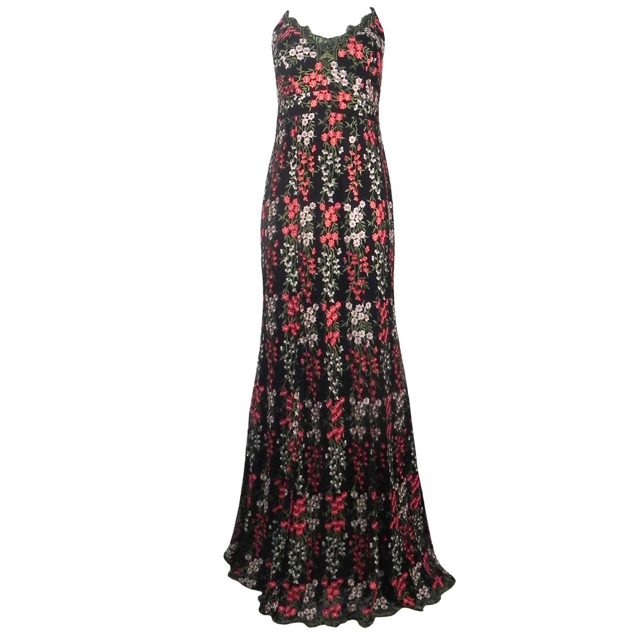 0993852f7 Vestido Longo em Tule Bordado Adoro - Cor Preto com Flores - Pole Modas