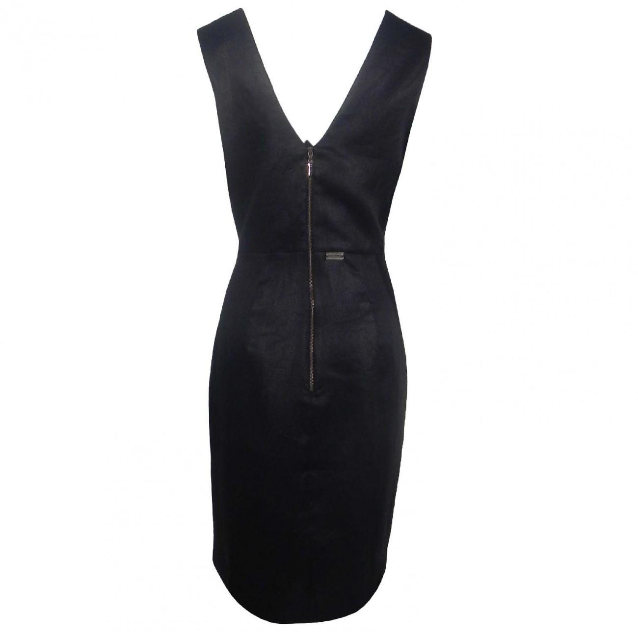 8af692a5a Vestido de Linho Maria Valentina - Cor Preto - Pole Modas