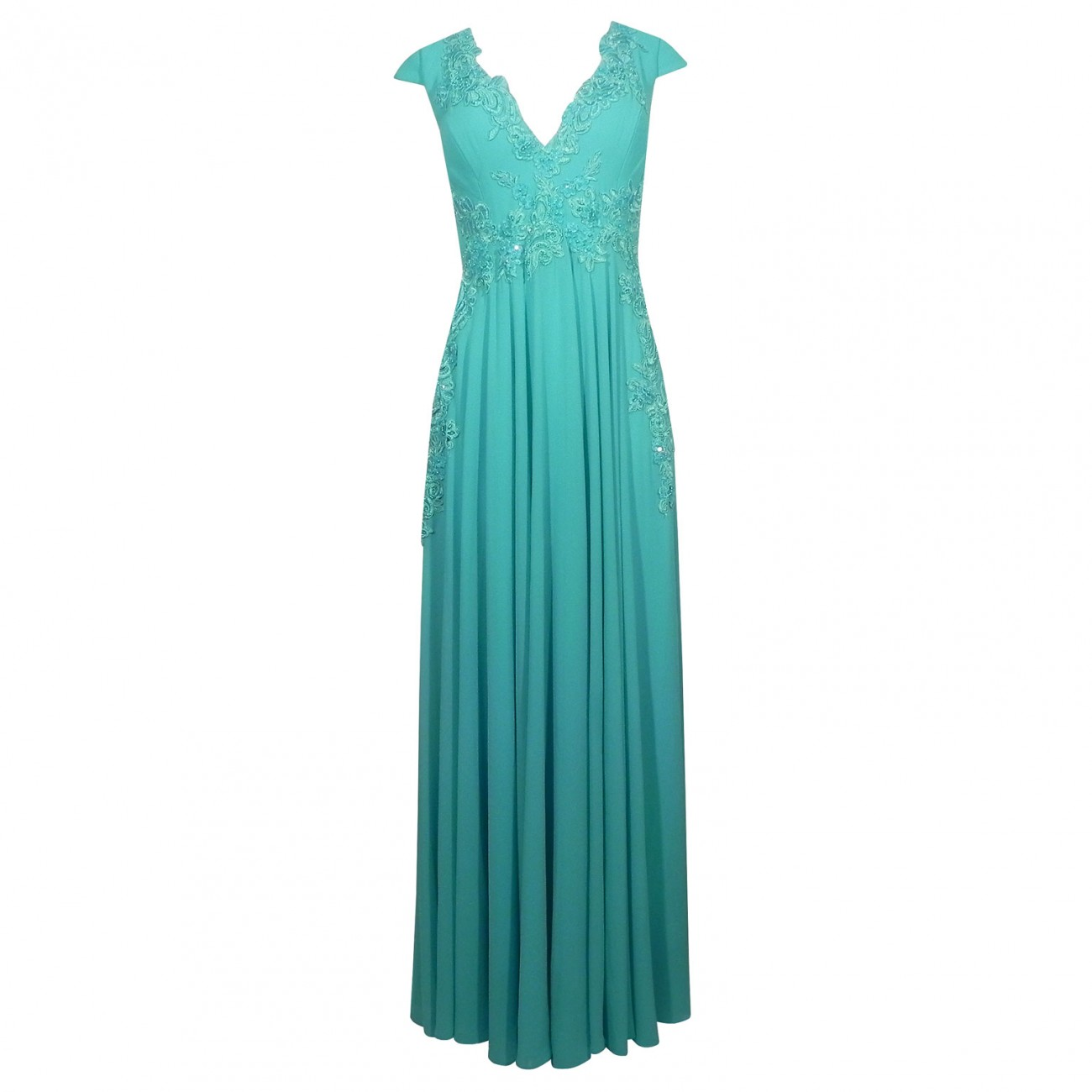 8209e43da8 Vestido de Festa em Crepe com Detalhe de Renda e Pedraria Adoro Cor Verde  Tamanho M