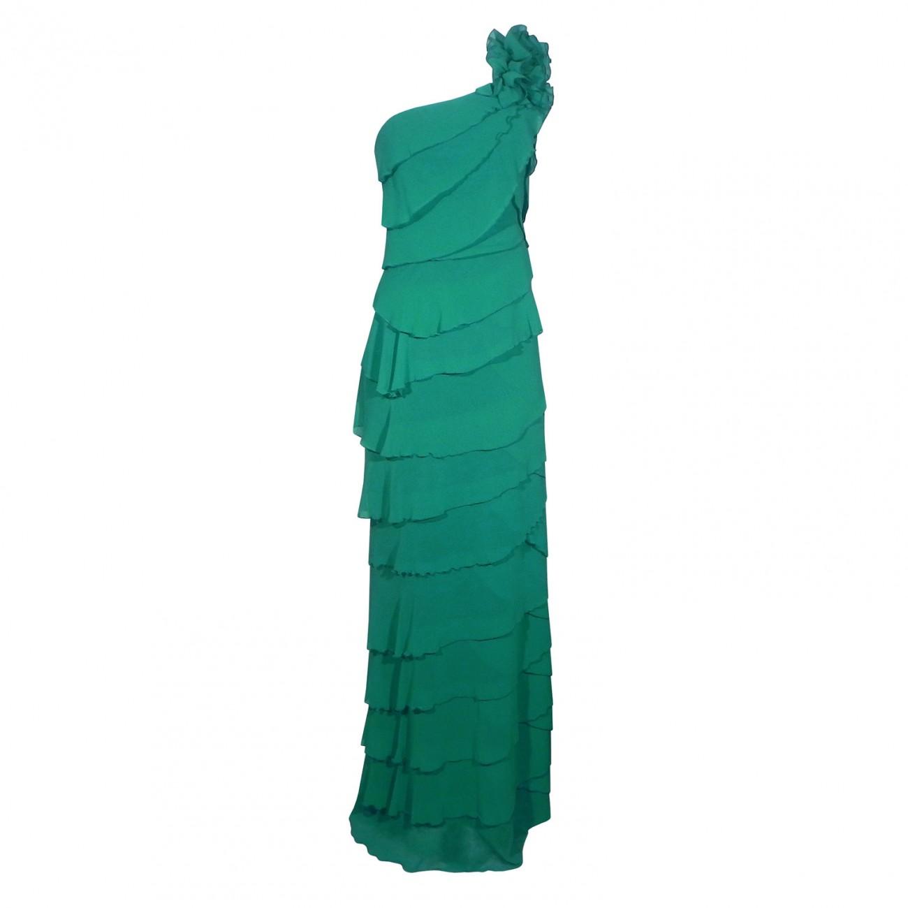 Vestido Com Babados E Decote Um Ombro Só Cor Verde Pole Modas