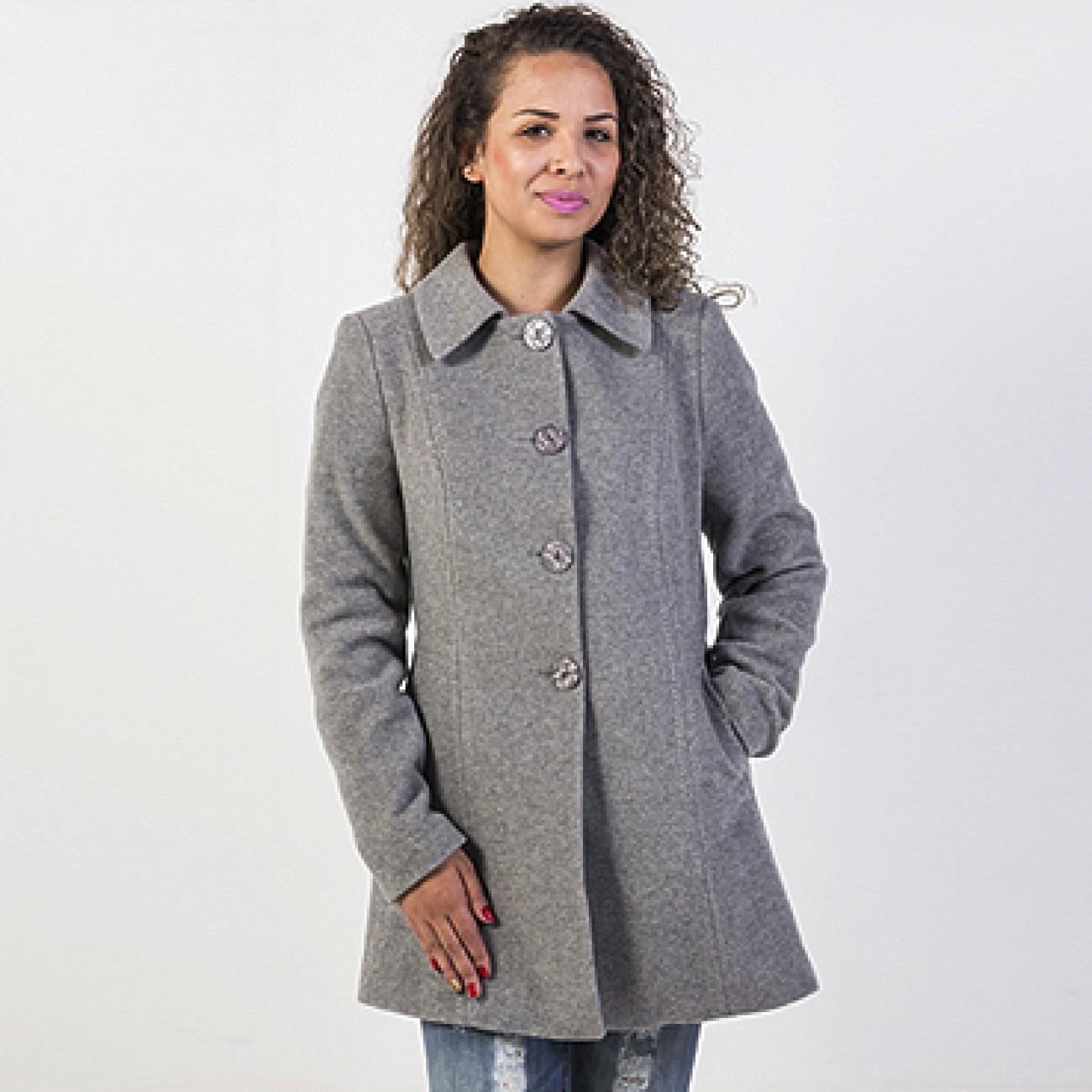 36c99d600 Casaco em Lã Cashmere Acinturado Malise Cor Cinza Mescla