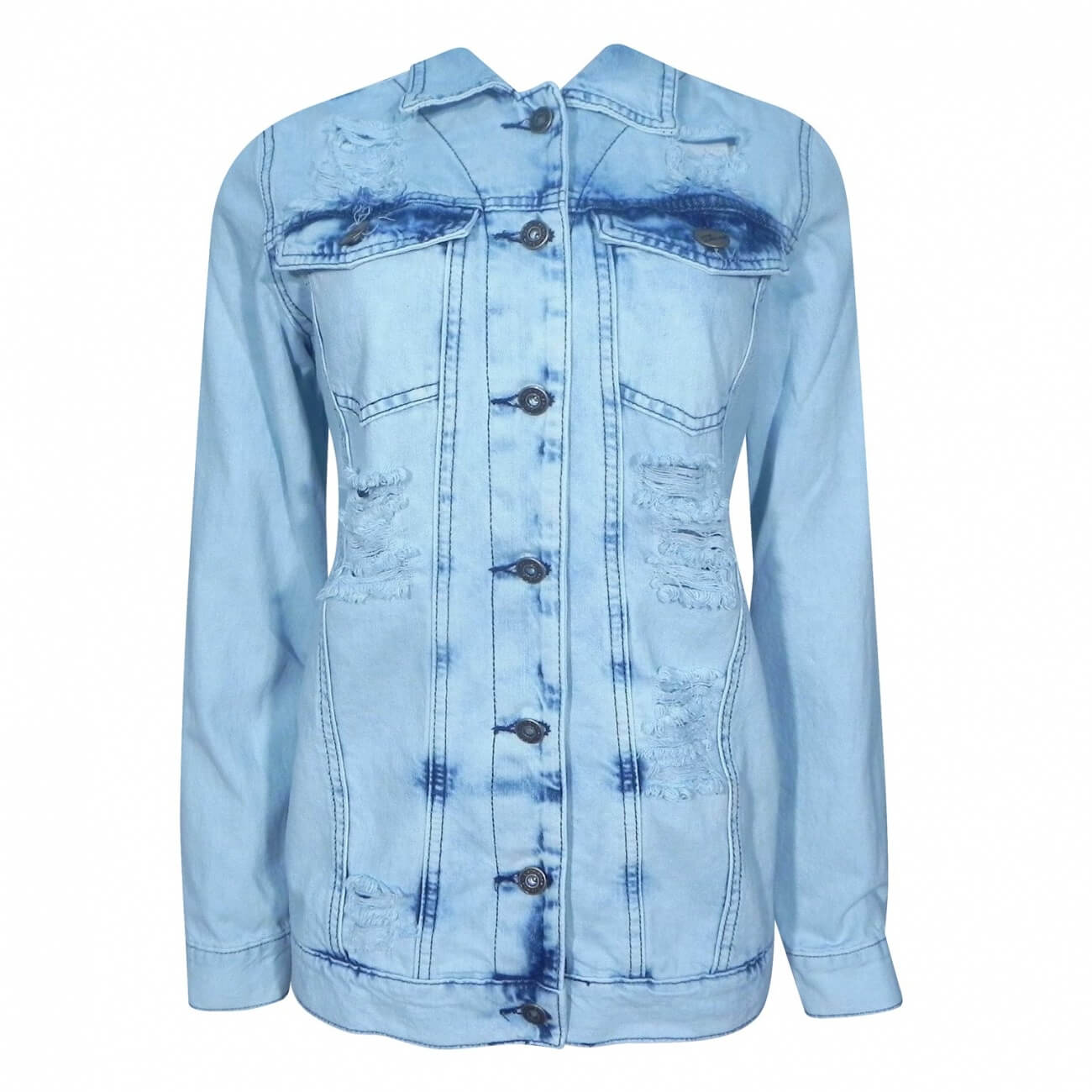 6219c5e13 Jaqueta Jeans Maxi Destroyd Lady Rock - Pole Modas