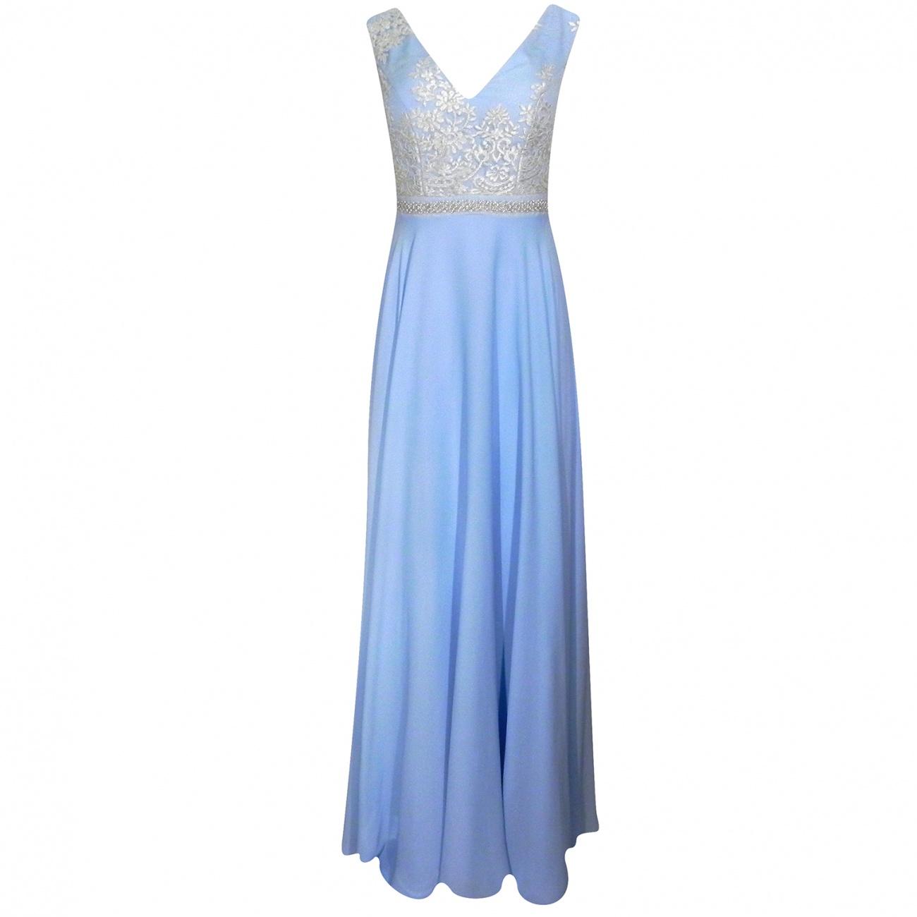 c0f643cd8a Vestido de Festa Longo em Crepe com Renda Adoro - Pole Modas