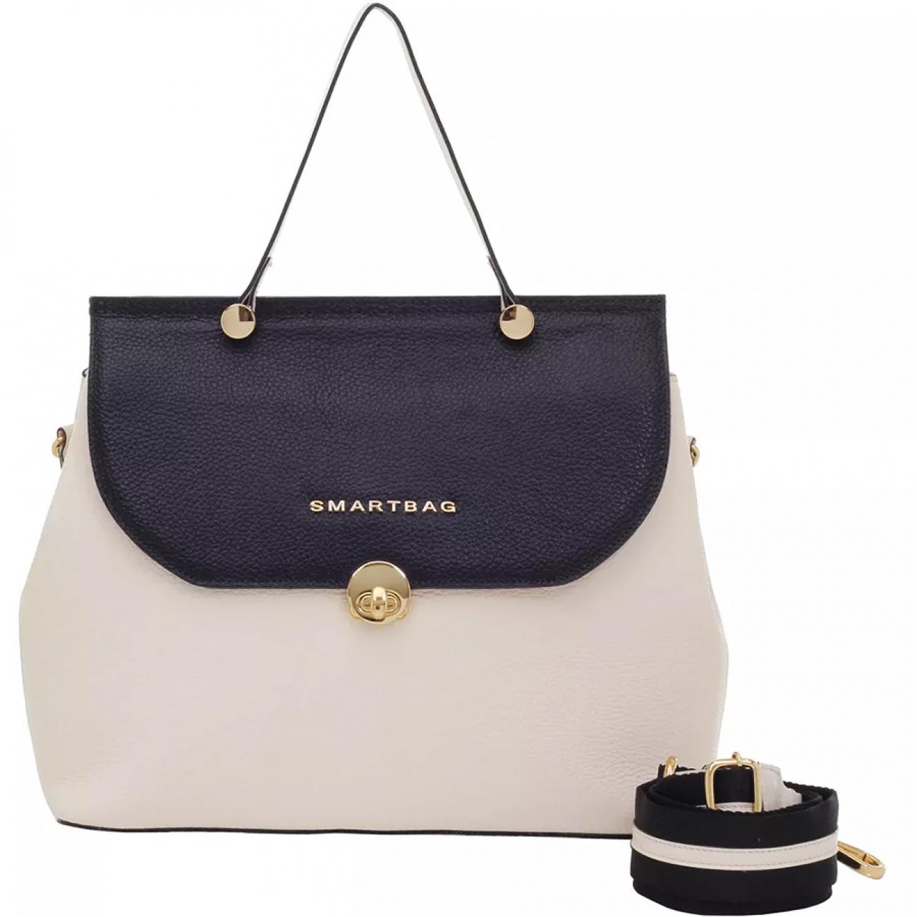 Bolsa De Mão Em Couro Com Alça Transversal Smartbag - Pole Modas 9e211ed9f23