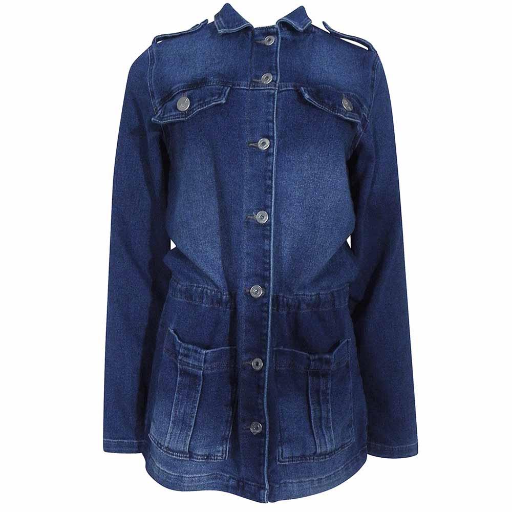 ca011e9e9 Jaqueta Parka Jeans Maxi Lady Rock - Pole Modas