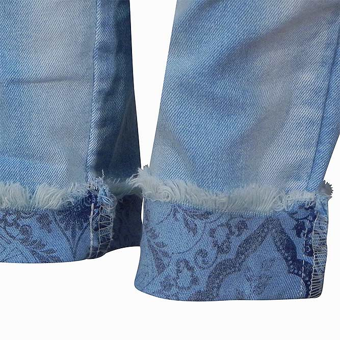 c9da1456c Calça Jeans Skinny Estampa Barra Alessandra Gatabakana - Pole Modas