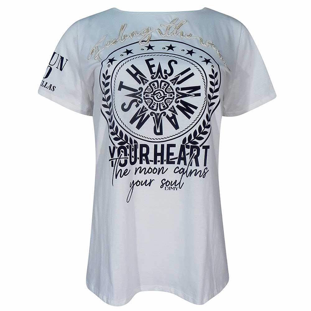 0b1df6904e T-Shirt Alongada Algodão Com Bordado Frontal Dimy - Pole Modas