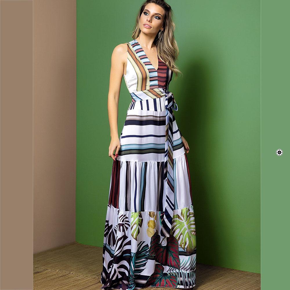 Vestido Longo Em Tecido Acetinado Intuição Pole Modas