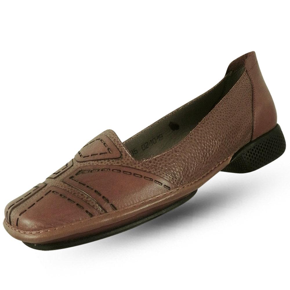 61aa63562 Sapato em Couro J.Gean Dual Confort Camel - Pole Modas