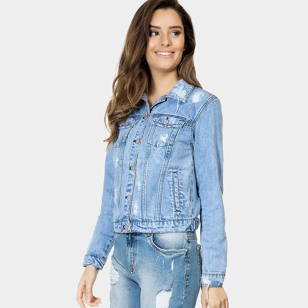 47f19f928 Jaqueta Jeans Destroyed Bolso Interno Lez a Lez - Pole Modas