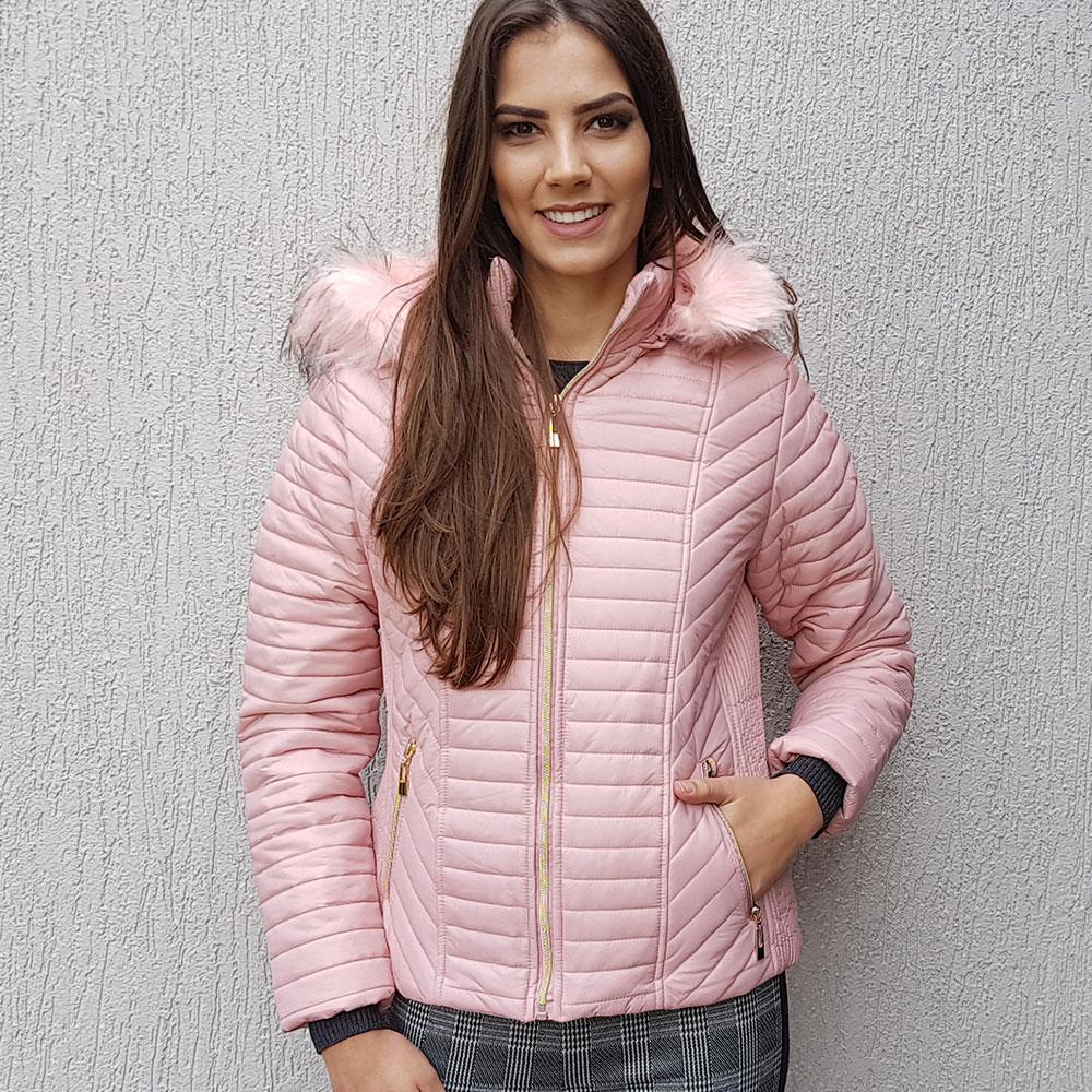 f25854107 Jaqueta Estofada Rosa Safira Fashion - Pole Modas