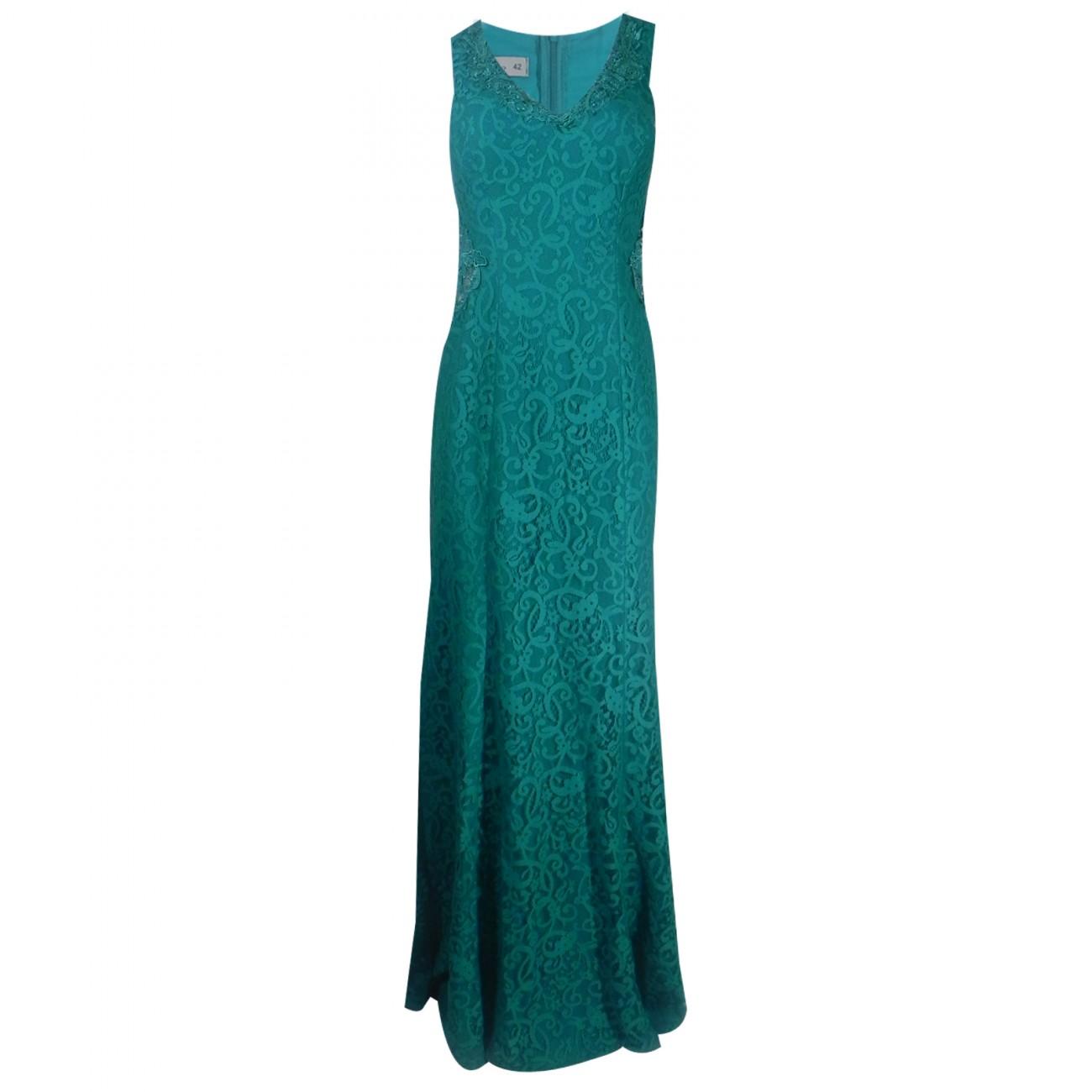b37e301b24 Vestido Longo de Renda Verde e Tule Ilusion em Guipir - Pole Modas