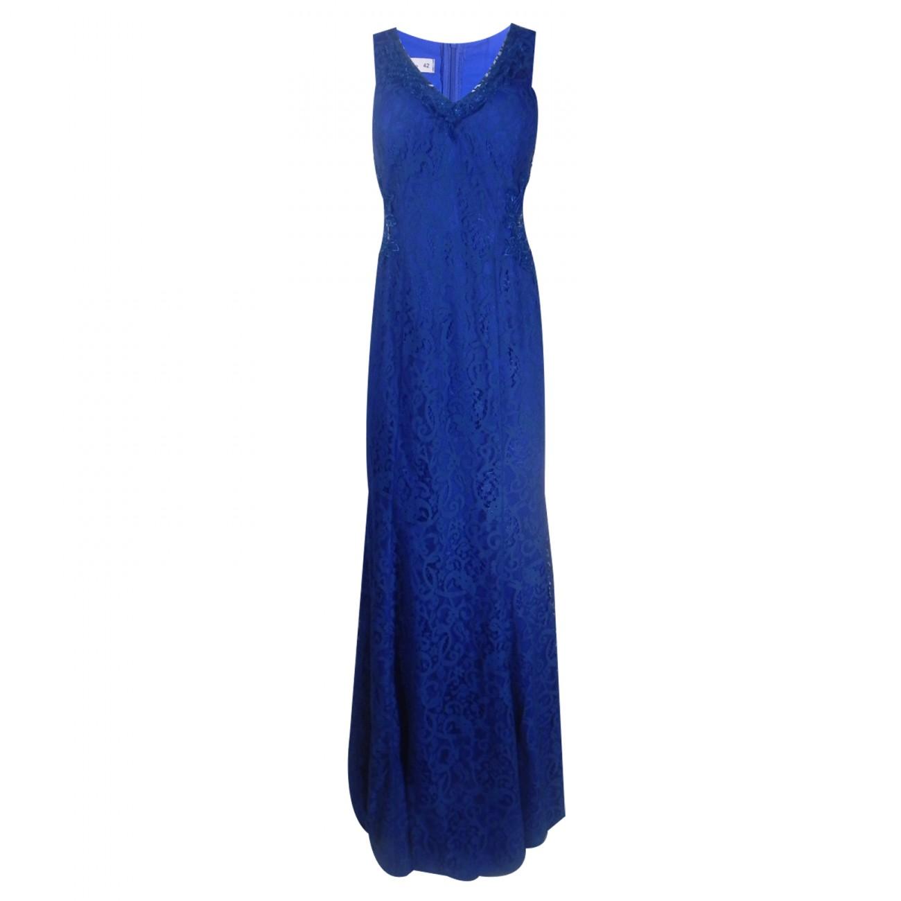 deaea90d35 Vestido Longo de Renda Azul Bic Detalhe Tule Ilusion- Adoro - Pole Modas