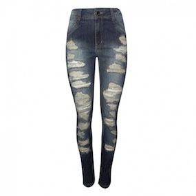 Calça Jeans Super Skinny Destroyed Dimy