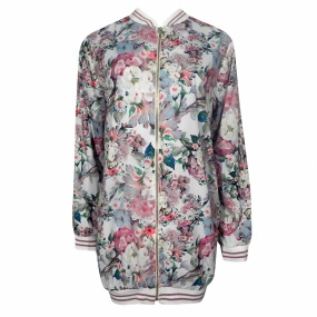 Jaqueta Estampada Bomber Alongada Jo Fashion