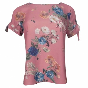 Blusa Crepe Estampado Kesses Rose