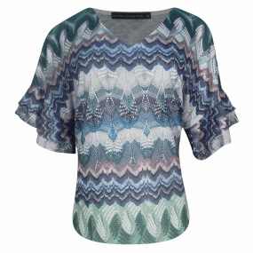 Blusa Estampada Manga Babados Cotton Colors Extra - Plus Size