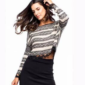 Blusa Cropped Tricot Zig Zag Haes