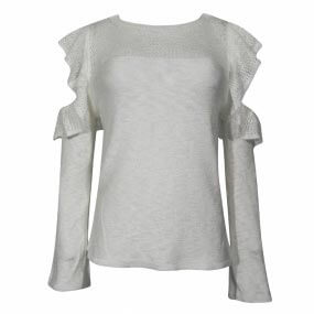Blusa Tricot Babados Haes Off White