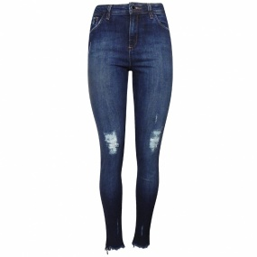 Calça Jeans London Twiggy Skinny Bainha Destroyed Chopper