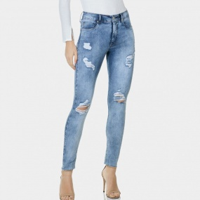Calça Jeans Cropped Sirena Flat Belly Destroyed Lez a Lez