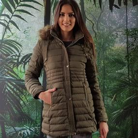 035b15847 Jaqueta Estofada Alongada Forro Apeluciado Safira Fashion Cor Verde Militar