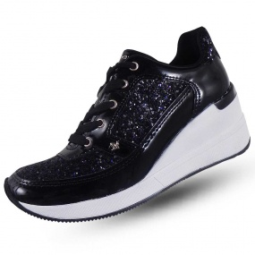 508ba7e47 Sneaker Detalhe Glitter Cravo Canela Cor Preto