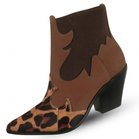 Bota Couro Western Animal Print Maithe Luxury Shoes