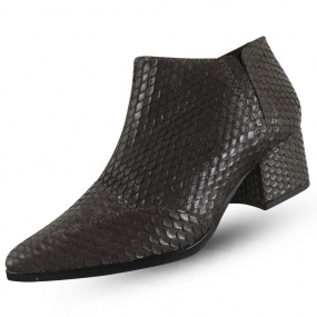 Ankle Boot Couro Efeito Escama Maithe Luxury Shoes