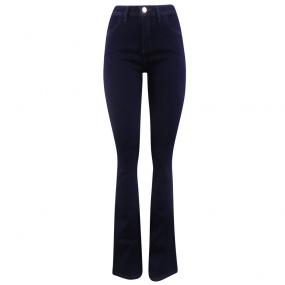 Calça Jeans Escura London Flare Chopper