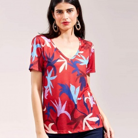 T-Shirt Estampa Floral do Mar Cantão