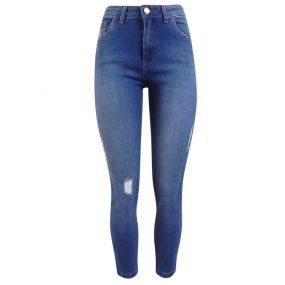 Calça Jeans Skinny Cropped Premium Collection Com Puídos Chopper