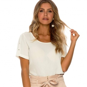 Blusa Crepe de Viscose Gatos e Atos Off White