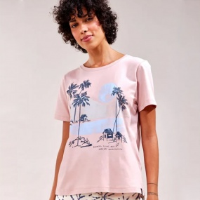 T-Shirt Slim Palms Cantão Rose