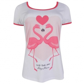 T-Shirt Estampa Flamingos Luiza Moraes