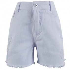Short Branco Destroyed Barra Desfiada Lemier